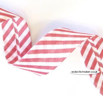 Striped Bias Binding in Red & White - 18mm