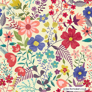 Blank Quilting Fabrics - Owl Prowl by Suzy Taylor - Allover Floral on Ecru