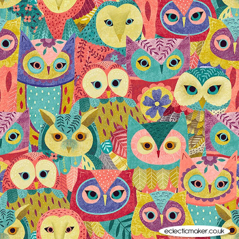 Blank Quilting Fabrics - Owl Prowl by Suzy Taylor - Owl Collage in Pink