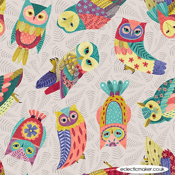 Blank Quilting Fabrics - Owl Prowl by Suzy Taylor - Tossed Owls on Gray