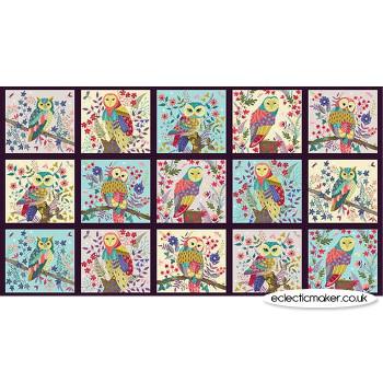 Blank Quilting Fabrics - Owl Prowl Blocks Fabric Panel