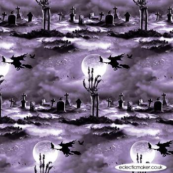 Blank Quilting Fabrics - Hocus Pocus Glow - Cemetery Scene on Gray