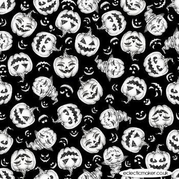 Blank Quilting Fabrics - Hocus Pocus Glow - Tossed Pumpkins on Black