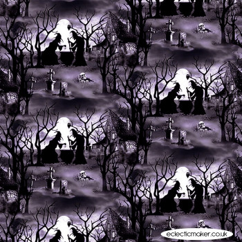 Blank Quilting Fabrics - Hocus Pocus Glow - Witches with Cauldrons on Gray
