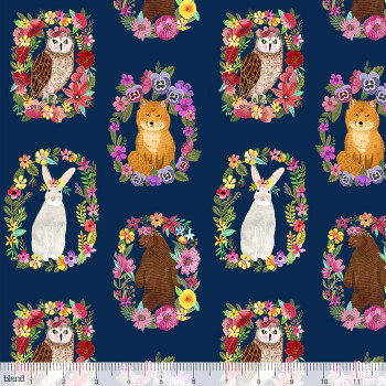 Blend Fabrics - Forest Friends - Wood Rings Navy