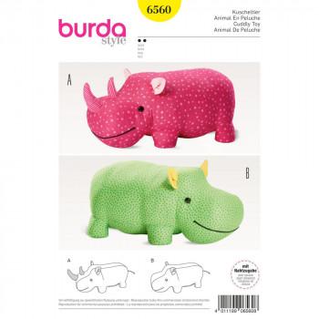 Burda Pattern 6560 - Stuffed Hippo or Rhino
