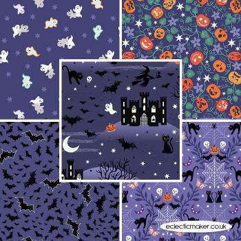 Castle Spooky - Fabric Bundle in Blue - Lewis and Irene Fabrics