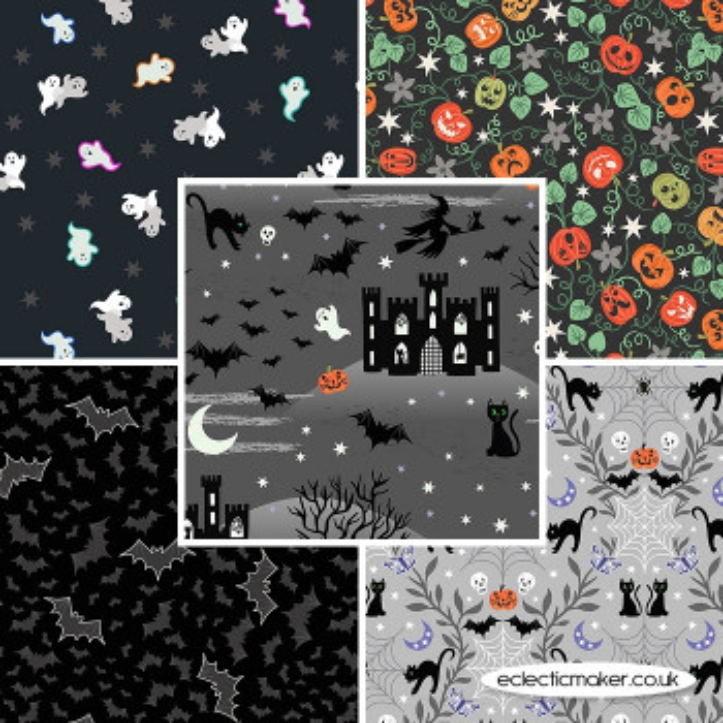 Castle Spooky - Fabric Bundle in Grey - Lewis and Irene Fabrics