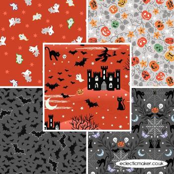 Castle Spooky - Fabric Bundle in Orange - Lewis and Irene Fabrics