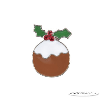 Christmas Pud Buttons - Enamel Diamante on Silver - 23mm