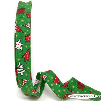 Christmas Tree Bias Binding in Green - 18mm