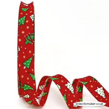 Christmas Tree Bias Binding in Red - 18mm