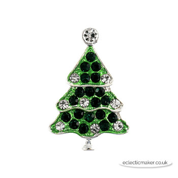 Christmas Tree Buttons - Diamante on Silver - 28mm