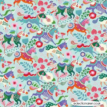 Clothworks - Forever Magic - Unicorns on Aqua