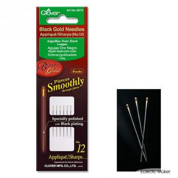 Clover Black Gold Applique / Sharps Needles No.12