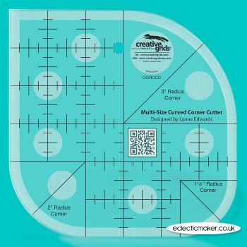 Creative Grids - Curved Corner Cutter Patchwork Ruler 1 1/2, 2 & 3 inch
