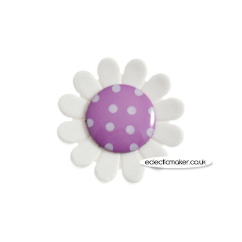 Daisy Buttons - Purple Size 35 - 32mm