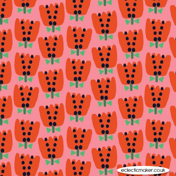Dashwood Studio Fabrics - Eden Pop - Tulips on Red