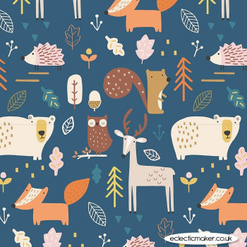 Dashwood Studio Fabrics - Habitat - Forest Animals on Navy