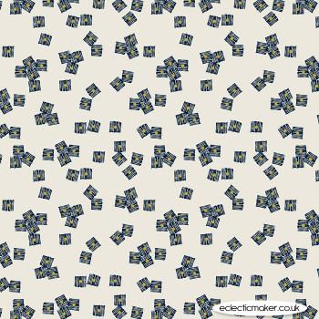 Dashwood Studio Fabrics - Midnight Garden - Cubes on Ecru