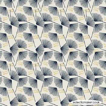 Dashwood Studio Fabrics - Midnight Garden - Fans on Ecru