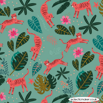 Dashwood Studio Fabrics - Night Jungle - Tiger on Teal