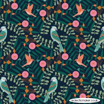 Dashwood Studio Fabrics - Our Planet - Birds on Dark