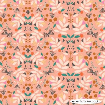 Dashwood Studio Fabrics - Our Planet - Floral on Dark Coral