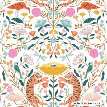 Dashwood Studio Fabrics - Our Planet - Tigers & Birds on White