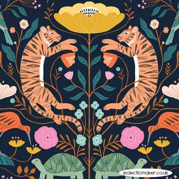 Dashwood Studio Fabrics - Our Planet - Tigers & Turtles on Dark