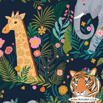 Dashwood Studio Fabrics - Our Planet - World Animals on Dark