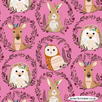 Dashwood Studio Fabrics - Wild - Animal Wreaths on Pink