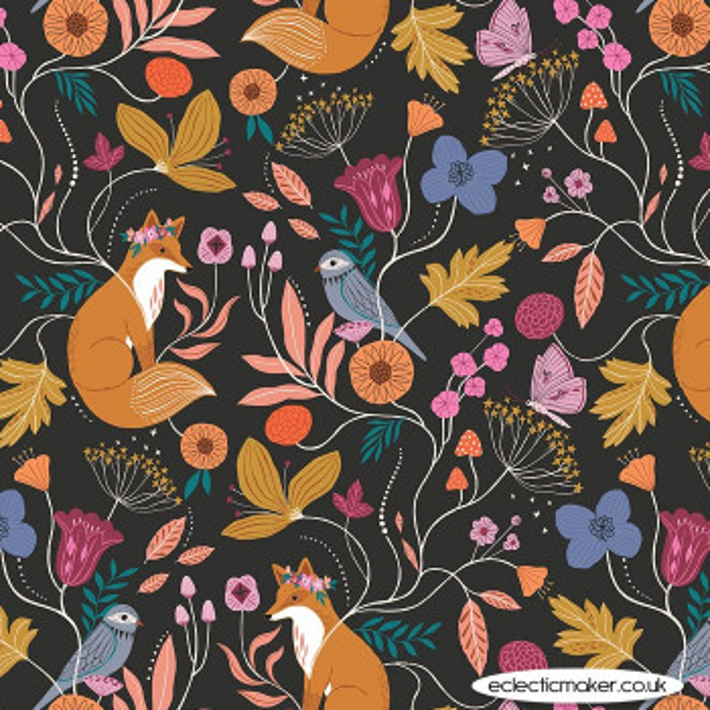 Dashwood Studio Fabrics - Wild - Flower Fox in Multi