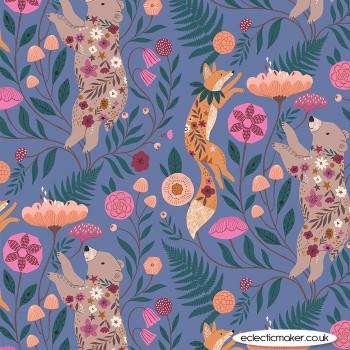 Dashwood Studio Fabrics - Wild - Fox and Bear on Lavender