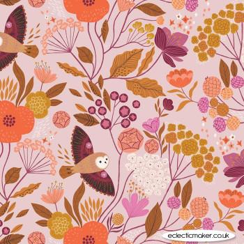 Dashwood Studio Fabrics - Wild - Owls and Flowers on Pale Pink