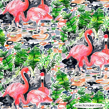 Dear Stella Fabrics - Paradise Found - Flamingoes in Multi
