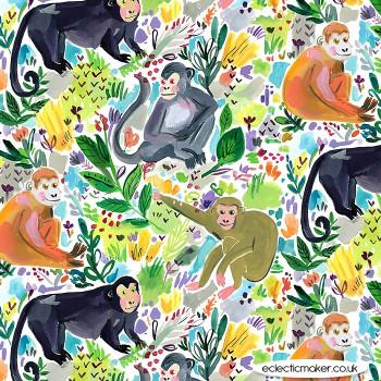 Dear Stella Fabrics - Paradise Found - Monkey Fun in Multi