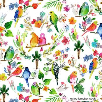 Dear Stella Fabrics - Paradise Found - Parrots in Multi