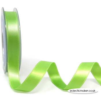 Double Satin Ribbon in Lime - 15mm