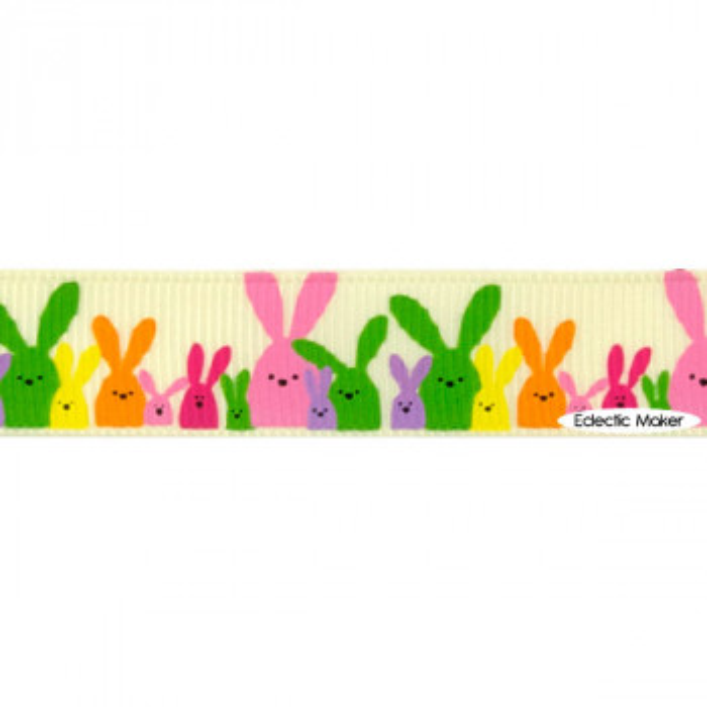 Easter Bunnies Grosgrain Ribbon in Ivory - 16mm