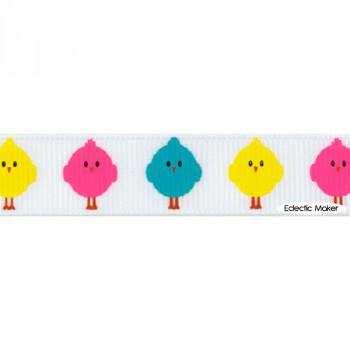 Easter Chicks Grosgrain Ribbon in White - 16mm