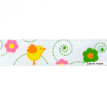 Easter Chicks & Flowers Grosgrain Ribbon in White - 16mm