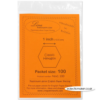 English Paper Piecing Hexagon 1 inch - 100 Paper Pieces