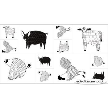 Moda Fabrics - Farm Fresh Fabric Panel in Black White