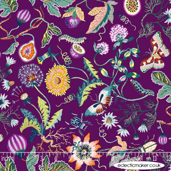 FIGO Fabrics - Forage - Flowers on Plum