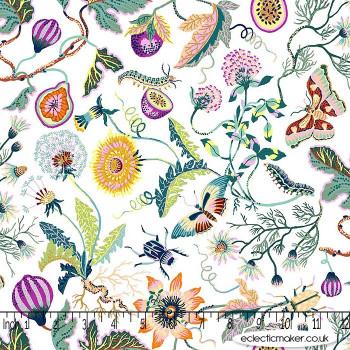 FIGO Fabrics - Forage - Flowers on White