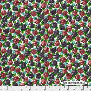 FreeSpirit Fabrics - Neddys Meadow - Blackberries on Natural