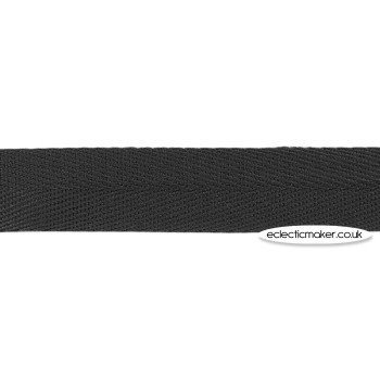 Herringbone Cotton Tape in Black - 25mm