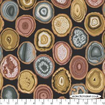 Philip Jacobs Fabric - Geodes in Charcoal