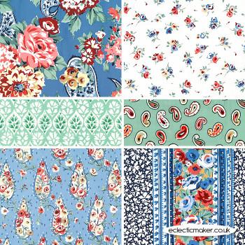 Michael Miller - Kashmir Garden - Fabric Pack in Wedgewood